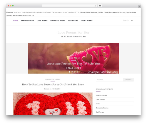 Activello WordPress theme - lovepoemsforher.org