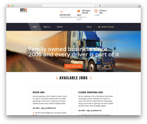 TM Transport WordPress page template - gr8express.com