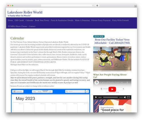 ZenLife premium WordPress theme - lakeshorerollerworld.com