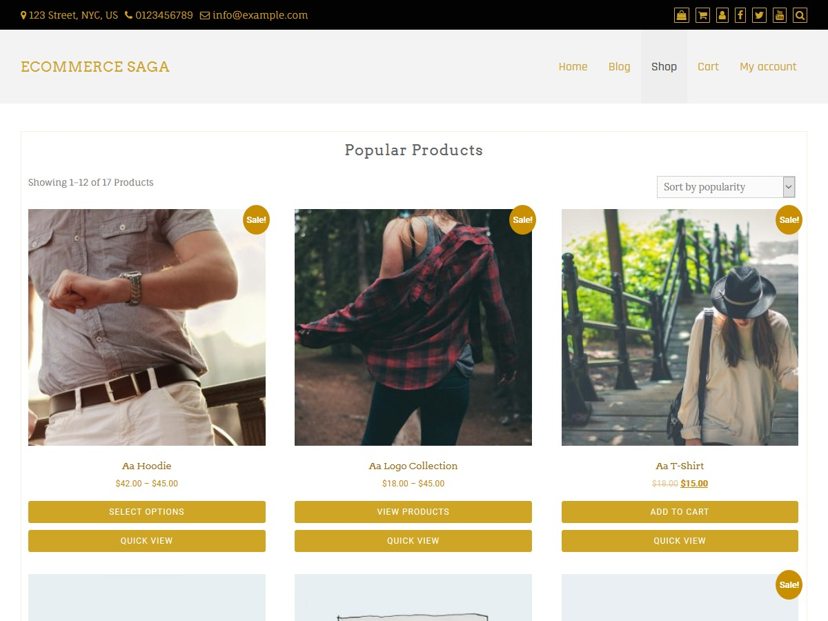 eCommerce Saga WordPress ecommerce theme