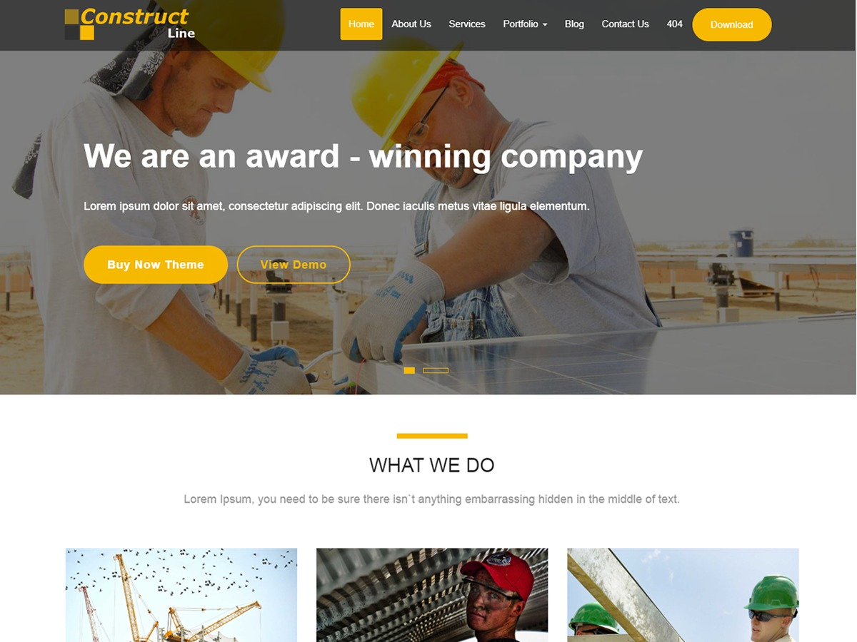 Construct Line WordPress template for business