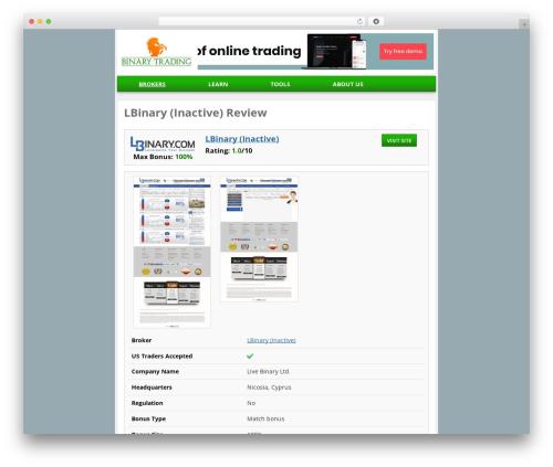 Binary Trading Theme 2015 WP template - lbinary.com