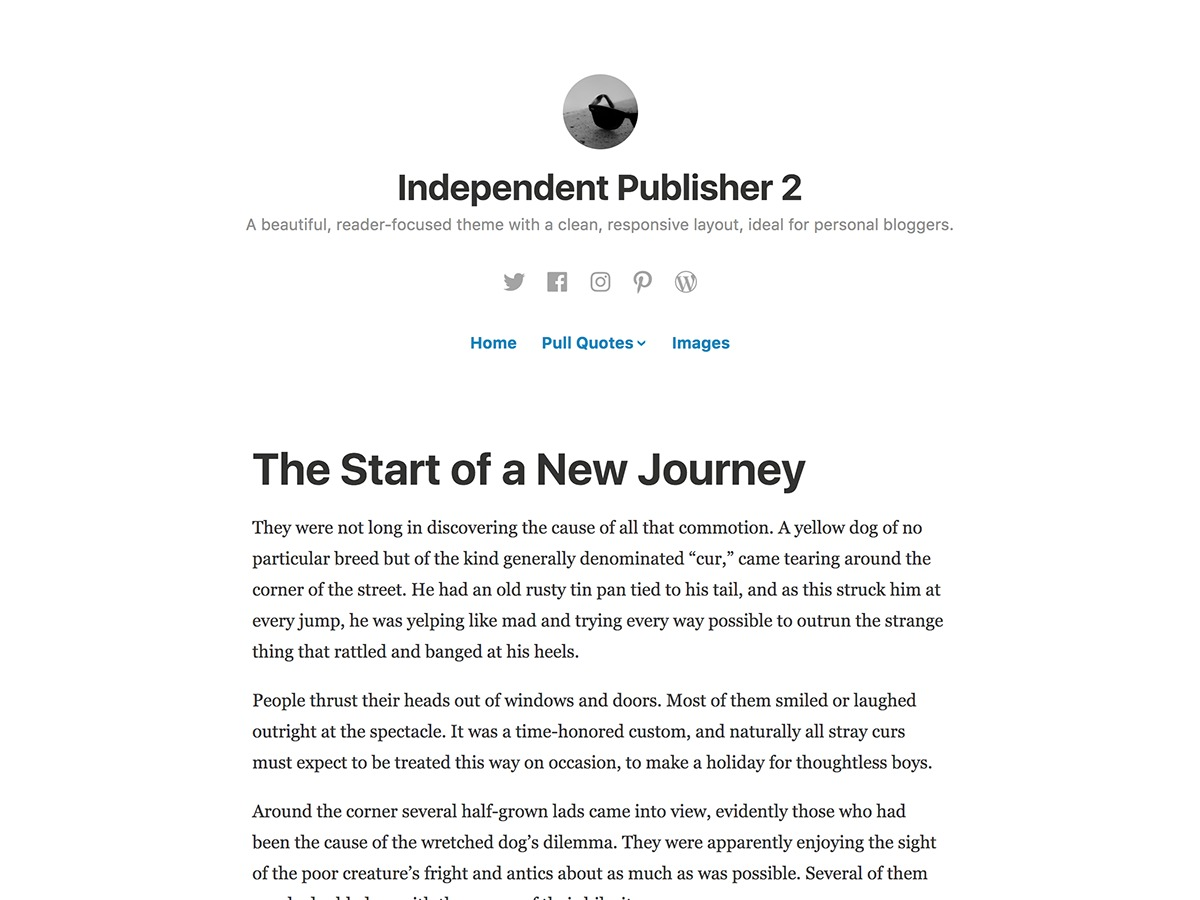 Independent Publisher 2 WordPress template for photographers