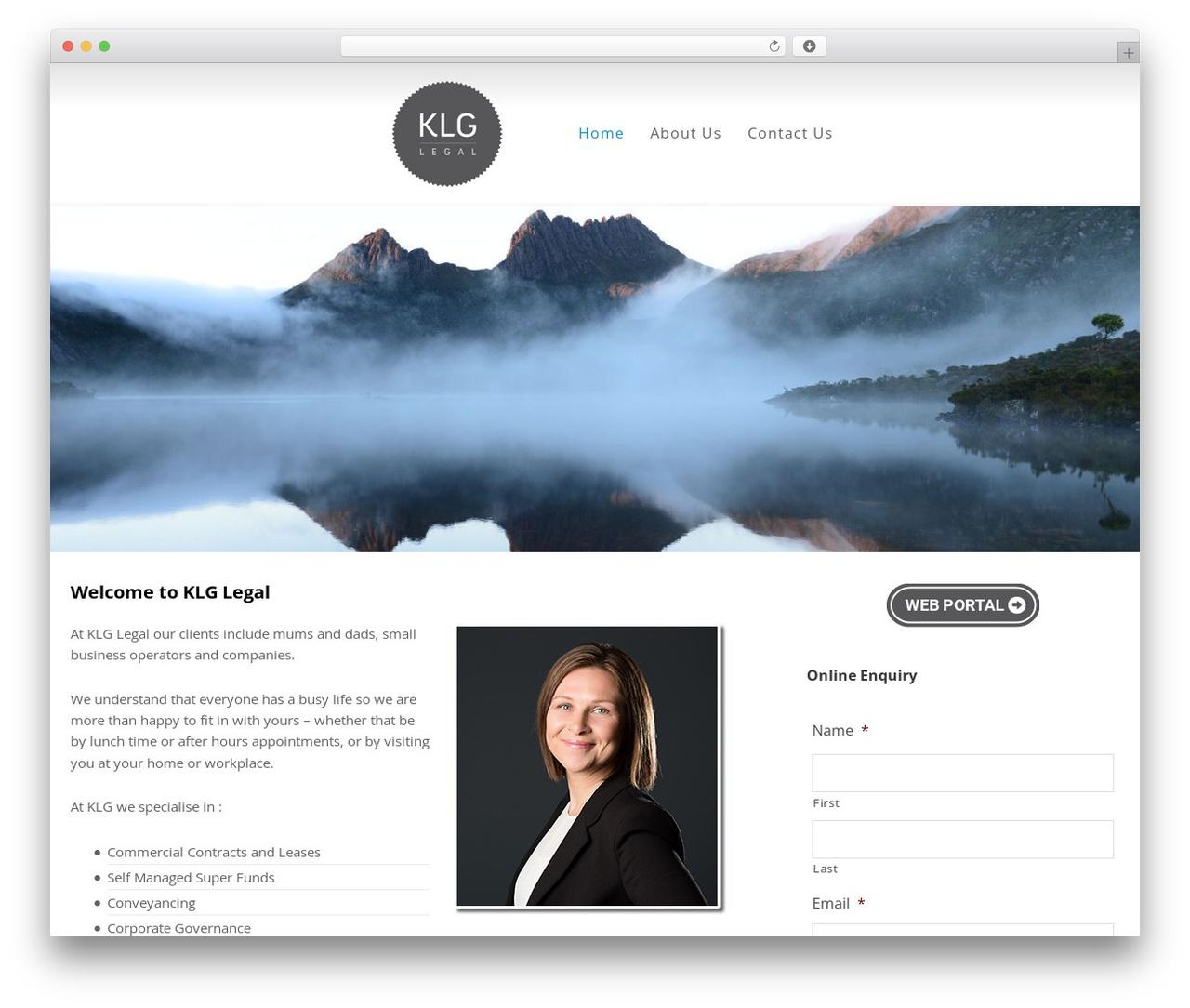 Minimum Pro Child 001 business WordPress theme - klglegal.com.au