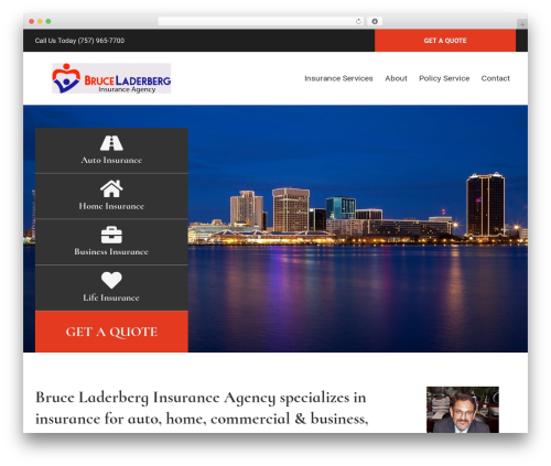 BrightFire Stellar business WordPress theme - laderberginsurance.com