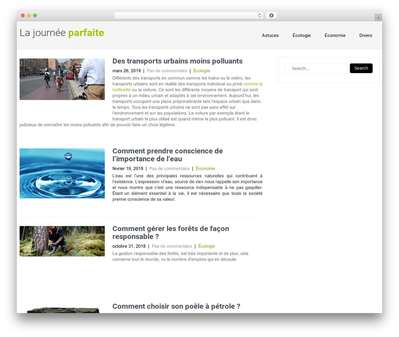 WP theme Eco Friendly Lite - lajourneeparfaite.fr