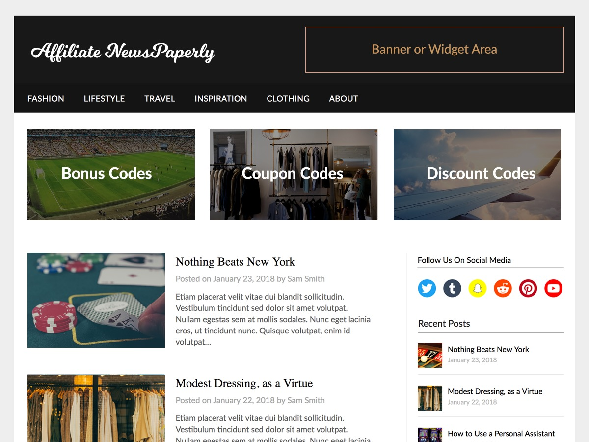 Affiliate Newspaperly best WordPress magazine theme