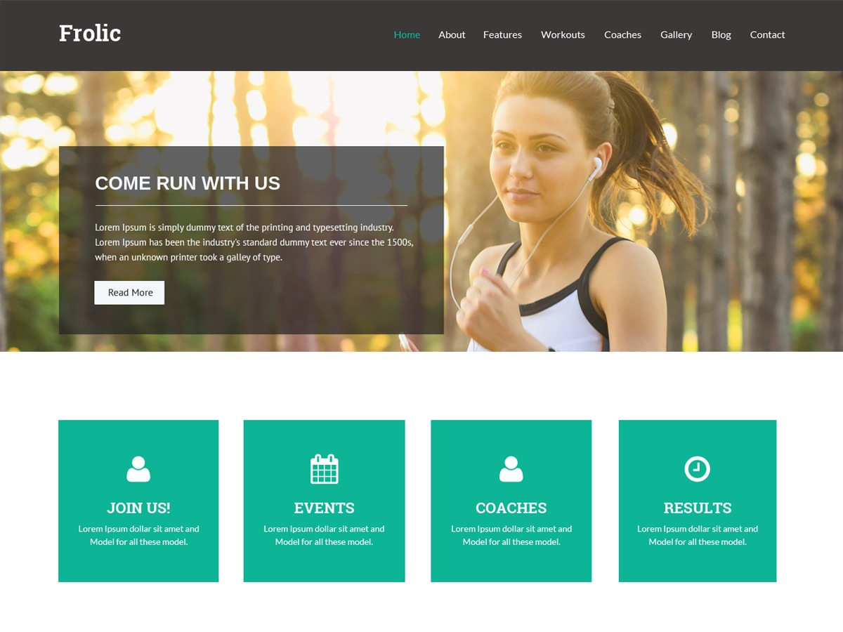 Frolic fitness WordPress theme