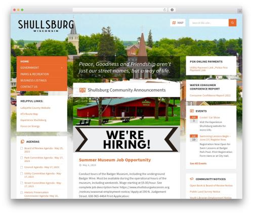 TownPress WordPress page template - shullsburgwisconsin.org