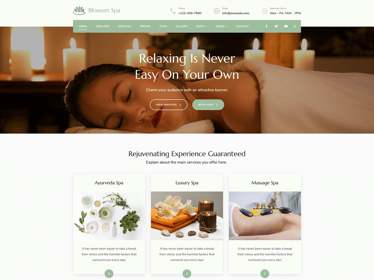 Blossom Spa company WordPress theme