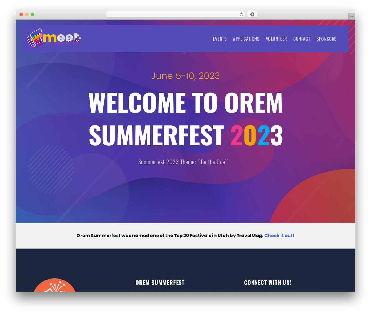 Emeet WordPress page template - summerfest.orem.org