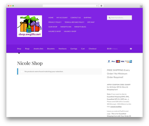 Boutique WordPress store theme - shop.nwgifts.net