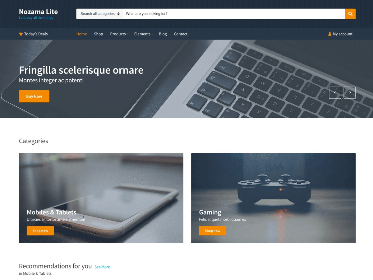 Nozama Lite WordPress page template