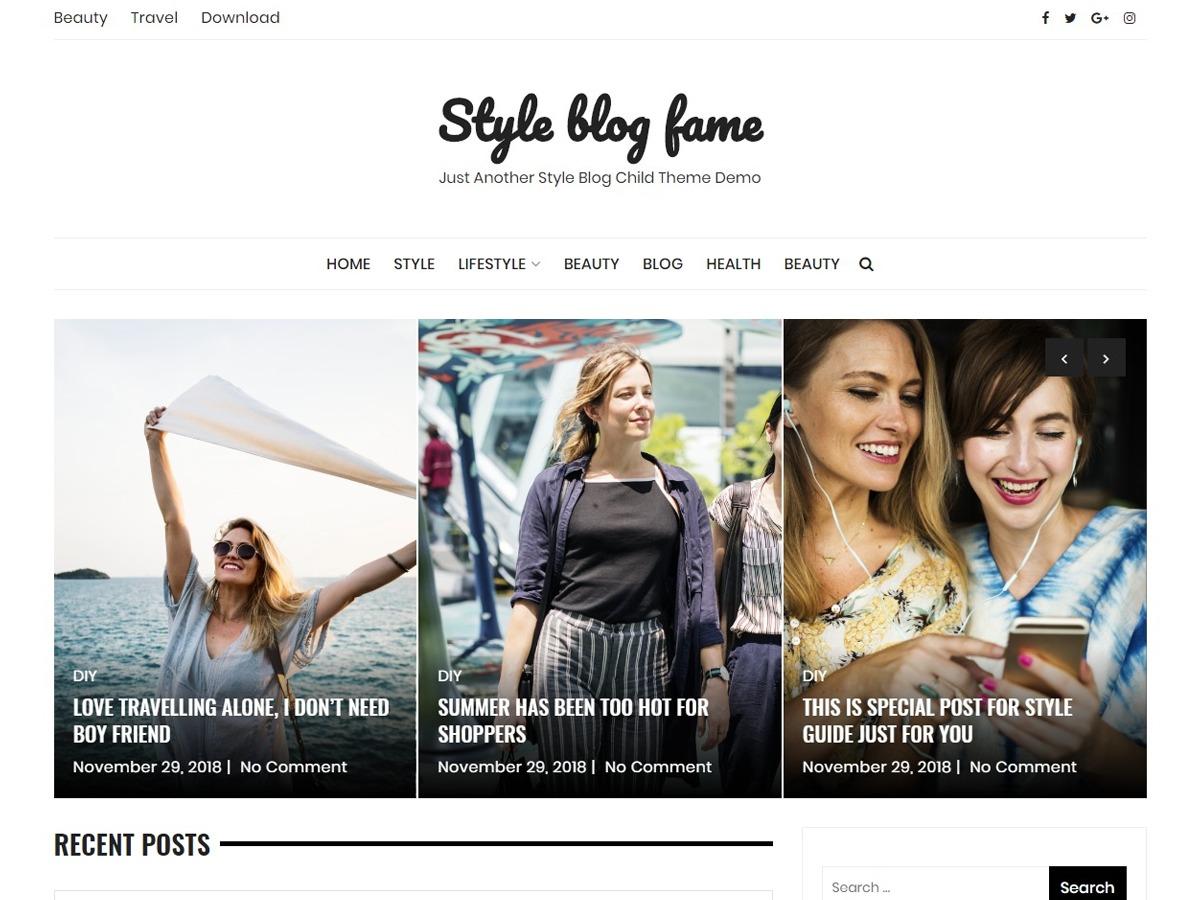 Style Blog Fame WordPress travel theme