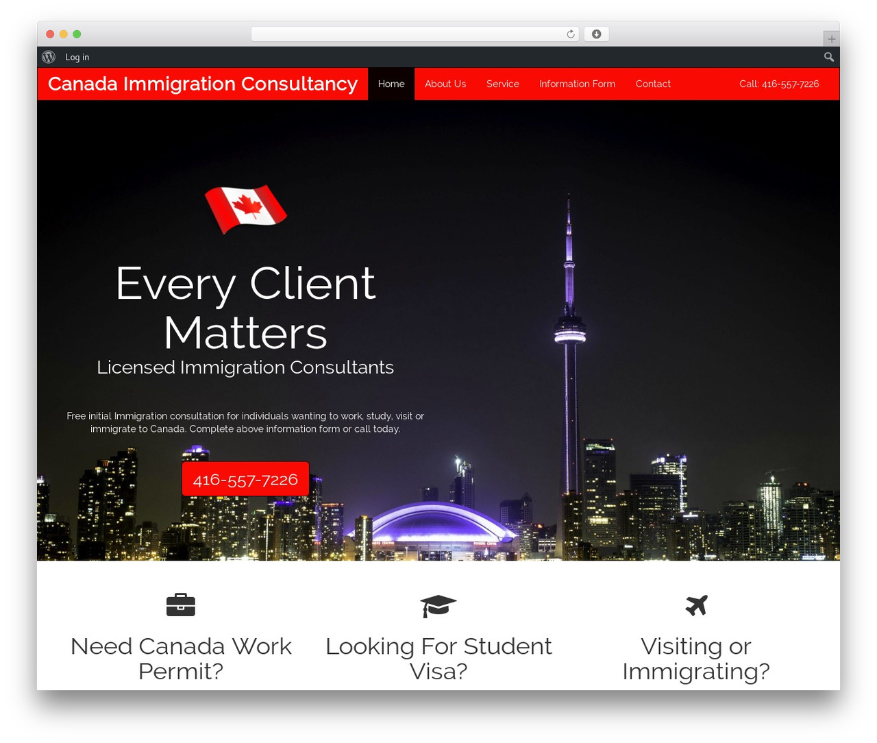 Cityscape WordPress page template - canadaimmigrationconsultancy.net