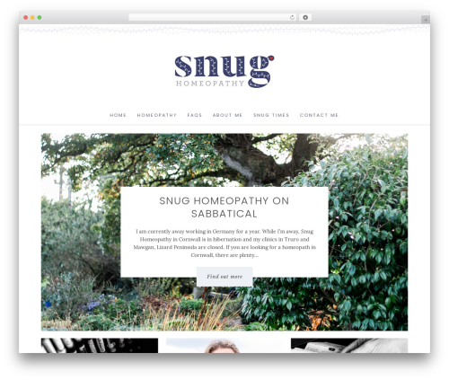 WordPress theme Angie Makes Child Theme - snughomeopathy.com