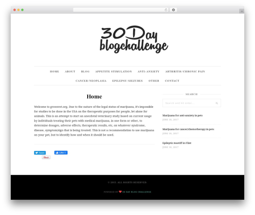 30 Day Blog Challenge WordPress blog theme - greenvet.org