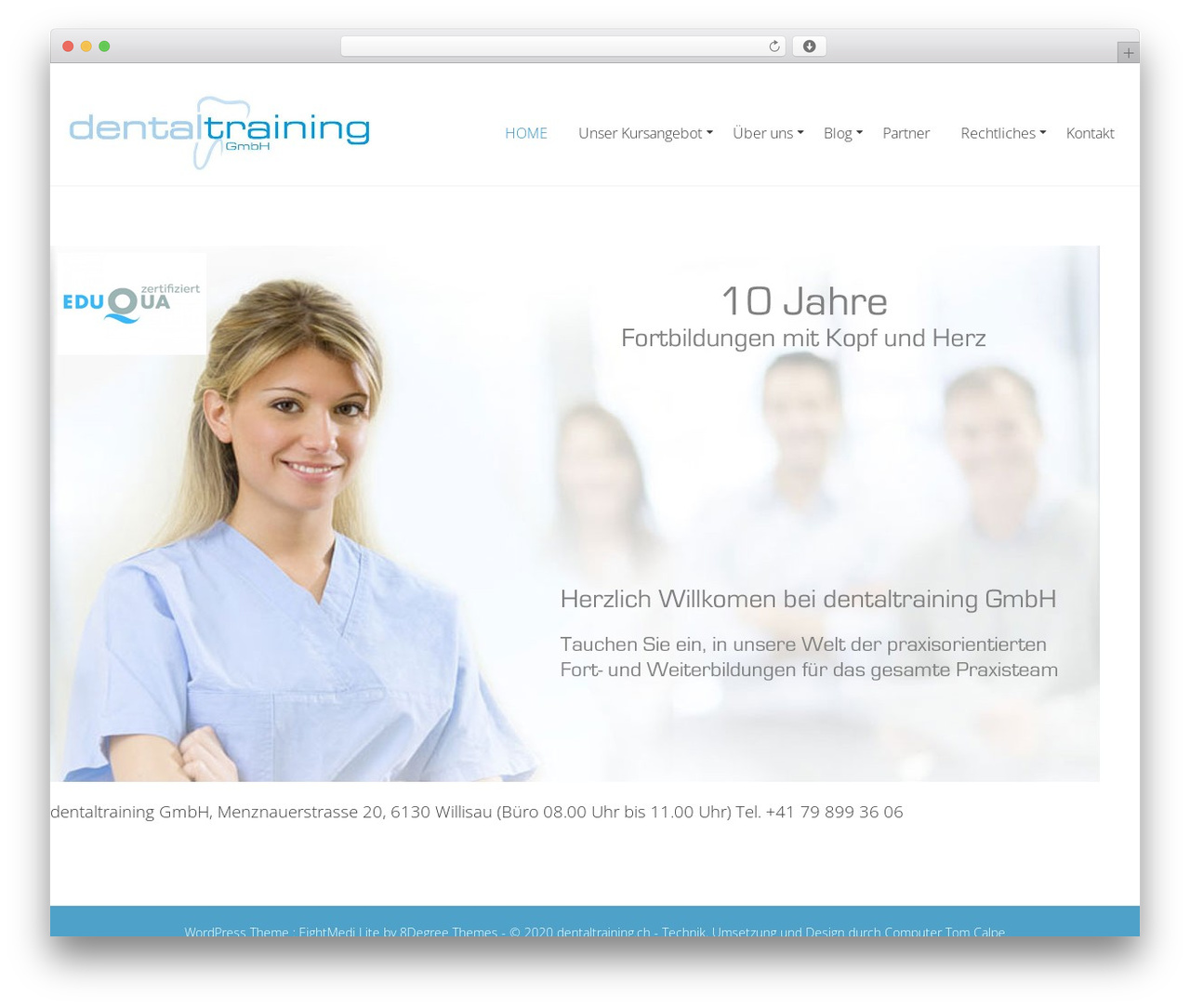 Eightmedi Lite best free WordPress theme - dentaltraining.ch
