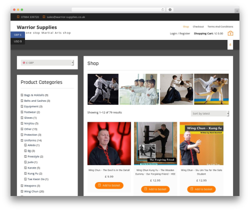 Clean Commerce free WP theme - martial-arts-media.com