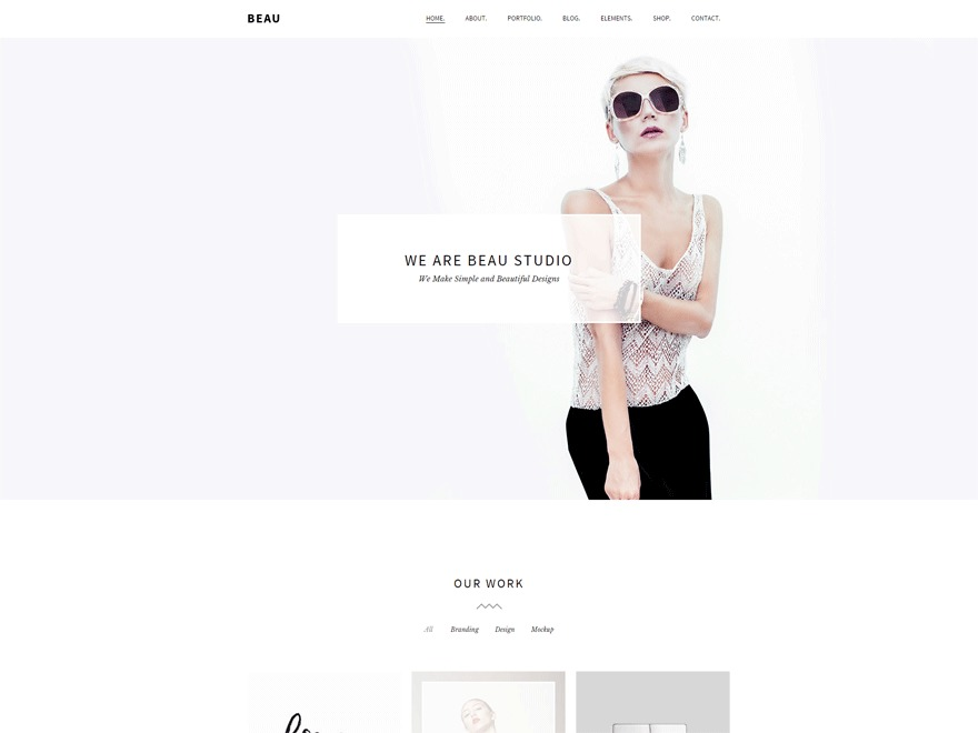 Beau Child theme WordPress portfolio