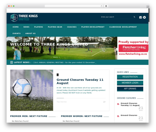 WordPress template GoalKlub - threekings.org.nz