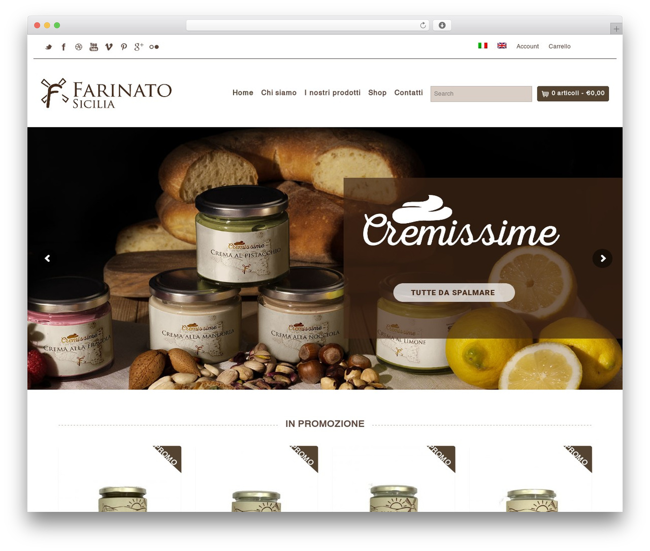 Organic Web Shop WordPress ecommerce template - farinatoitalia.com