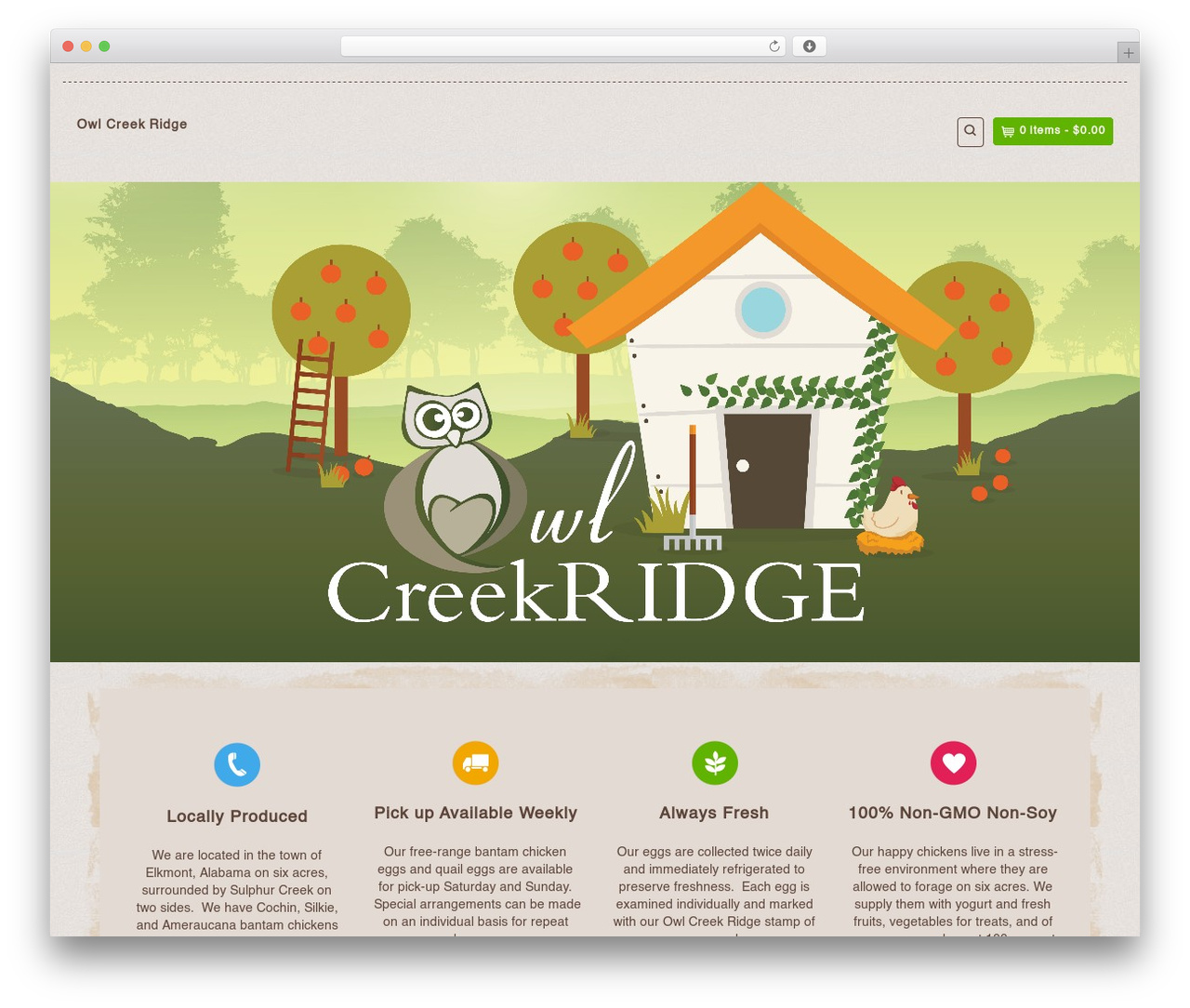Organic Web Shop WordPress ecommerce template - owlcreekridge.farm