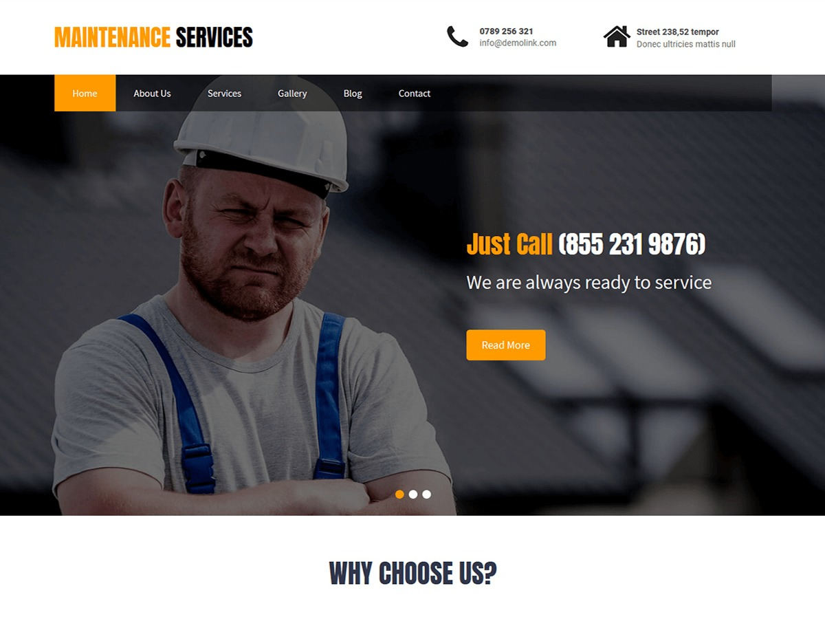 Maintenance Services WP template