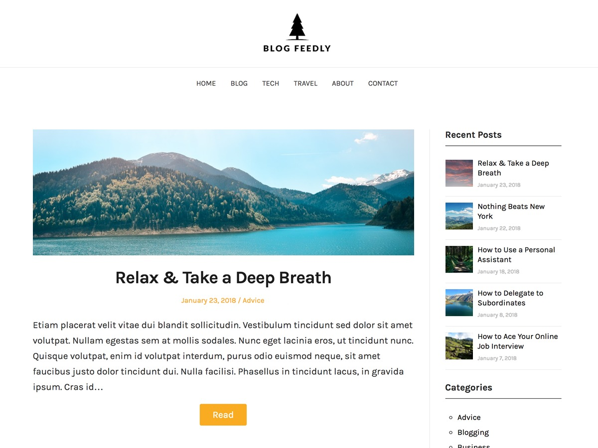 BlogFeedly WordPress blog template