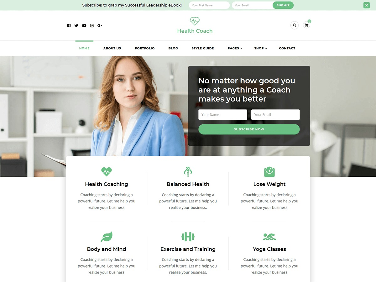 Blossom Health Coach newspaper WordPress theme