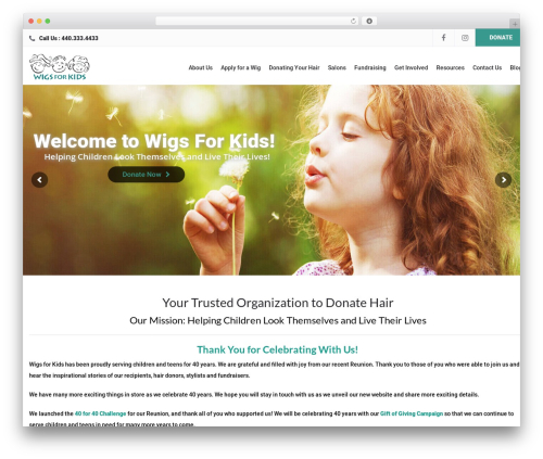 WordPress website template Charity WPL - wigsforkids.org