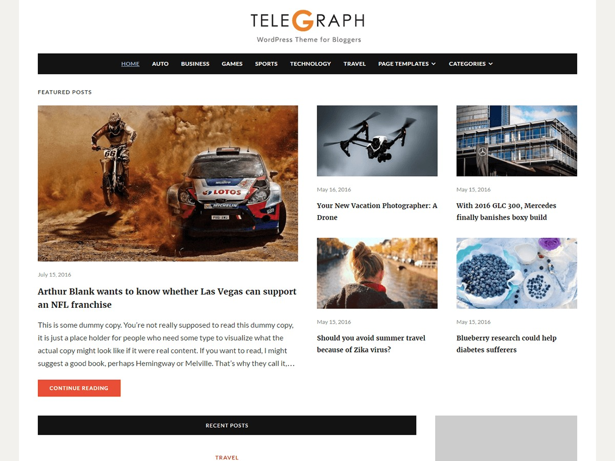 Telegraph newspaper WordPress theme