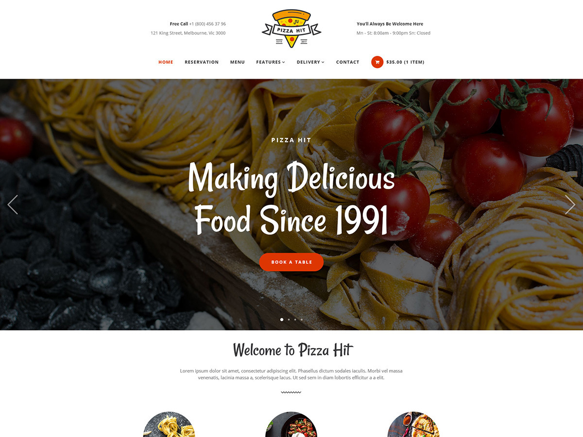 PizzaHIT WordPress pizza theme
