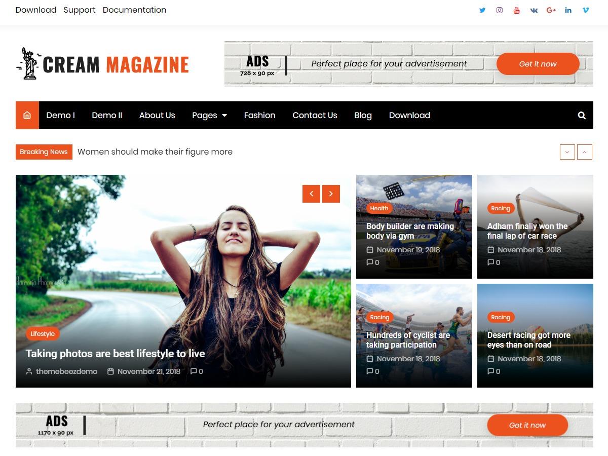 Cream Magazine WordPress magazine theme