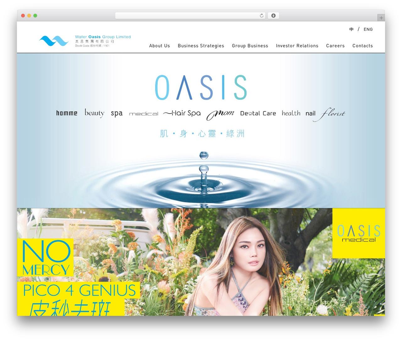 Oasis WordPress website template - wateroasis.com.hk