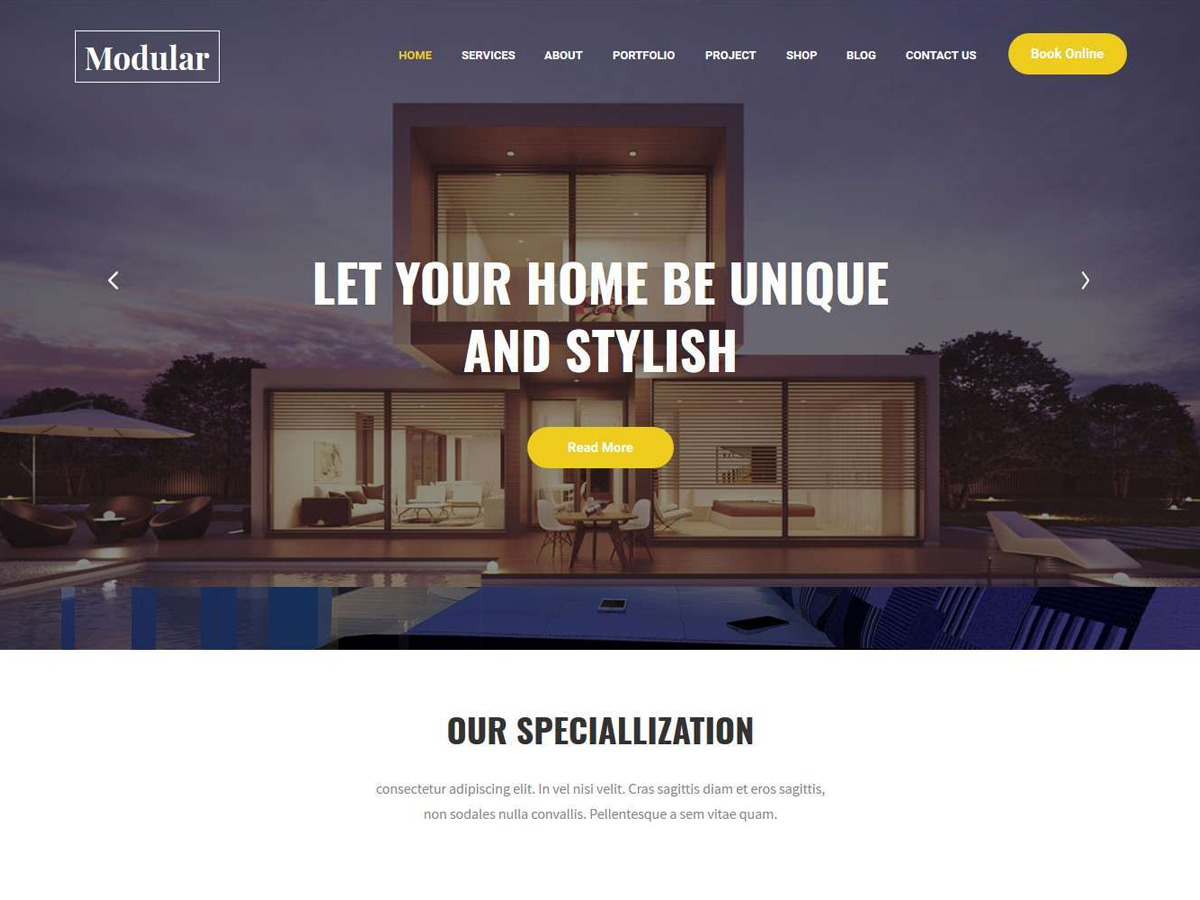 Modular Lite WordPress template for business