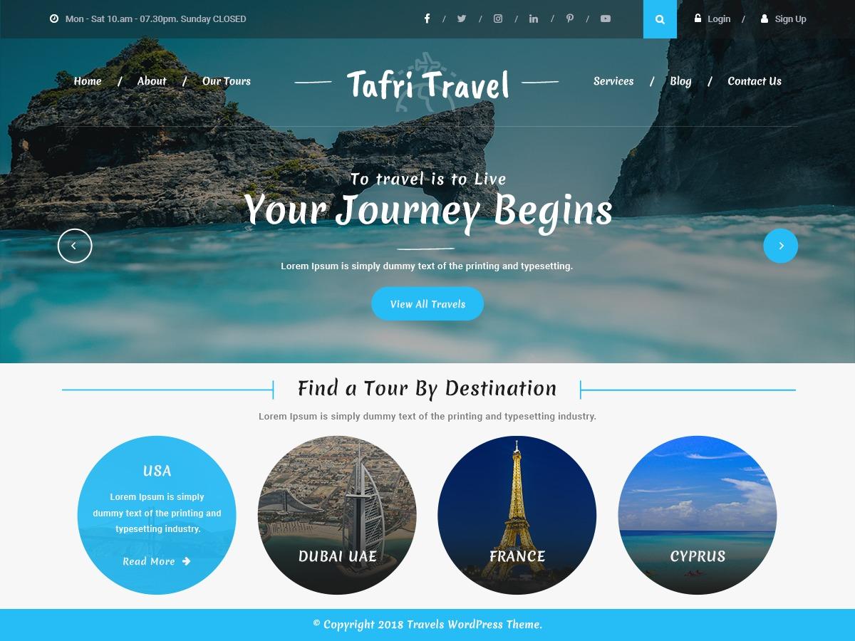 Tafri Travel WordPress blog template