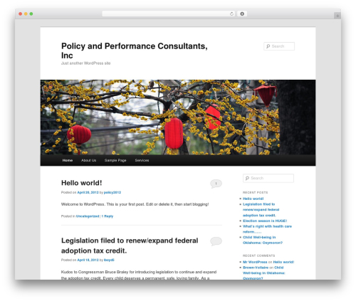 Twenty Eleven free WordPress theme - policyandperformanceconsultants.com