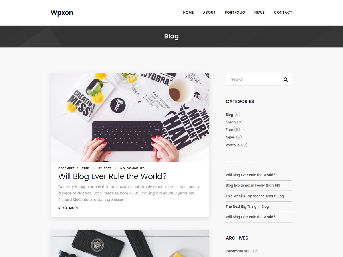 Wpxon Blog wallpapers WordPress theme