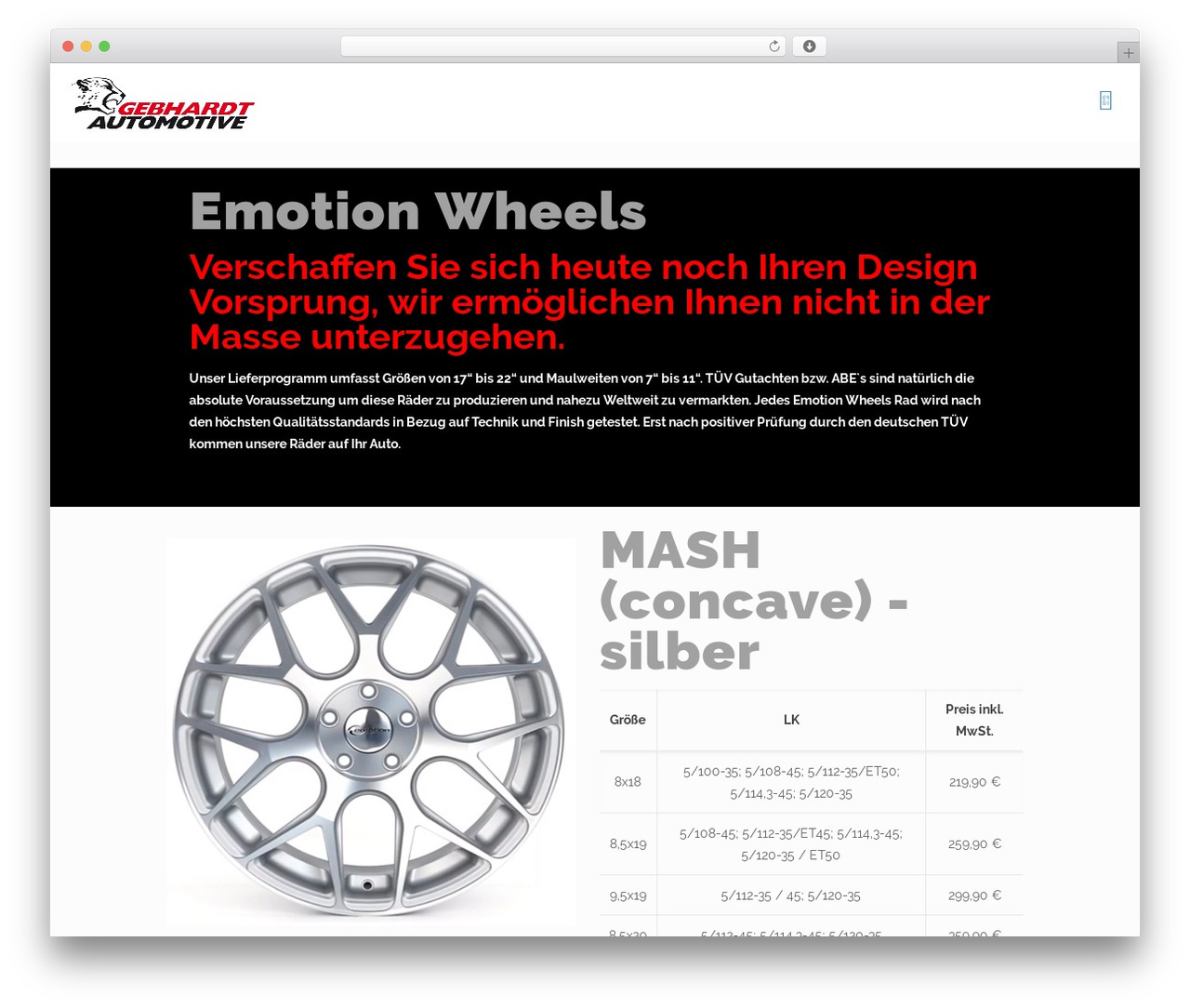 Betheme WordPress theme - emotion-wheels.de