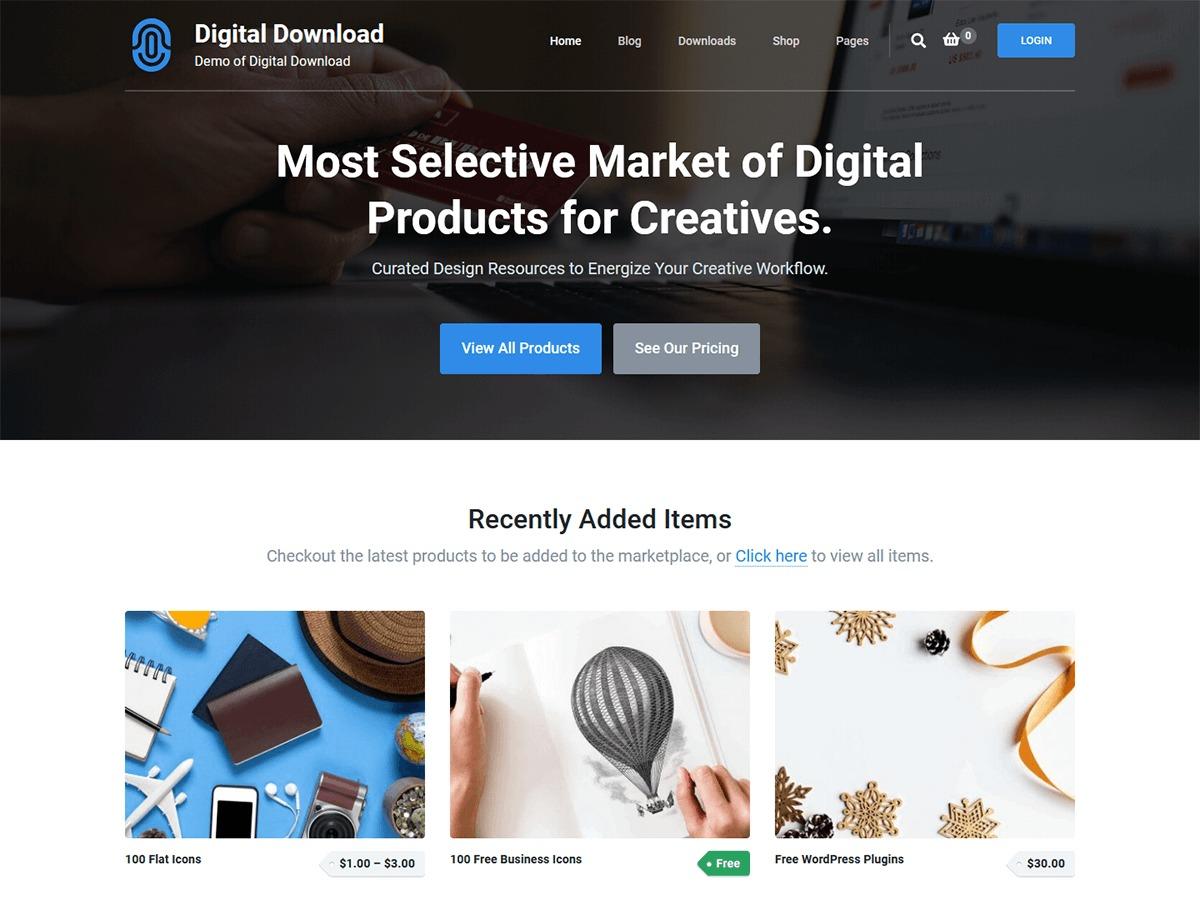 Digital Download WordPress video theme