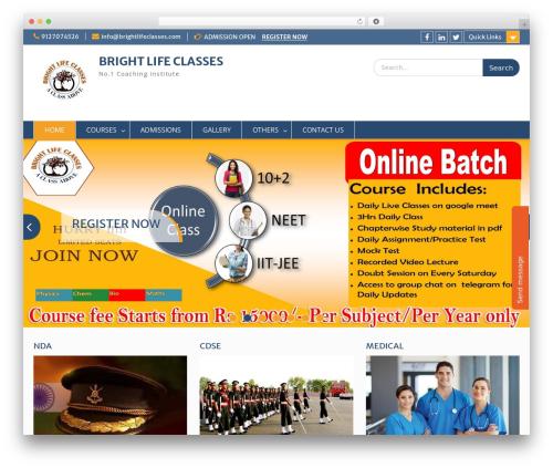 Education Hub free WordPress theme - brightlifeclasses.com