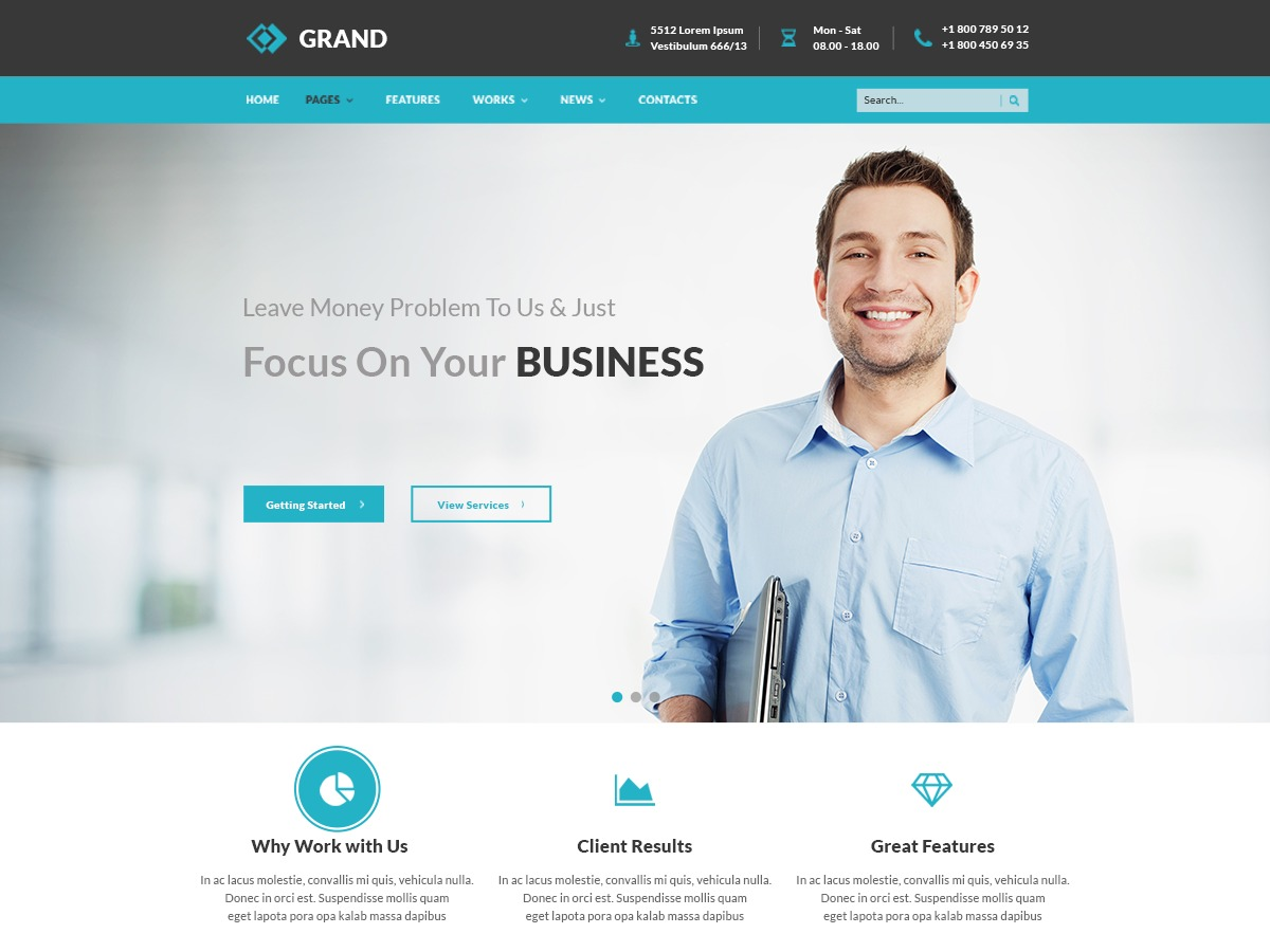 Grand WordPress template for business