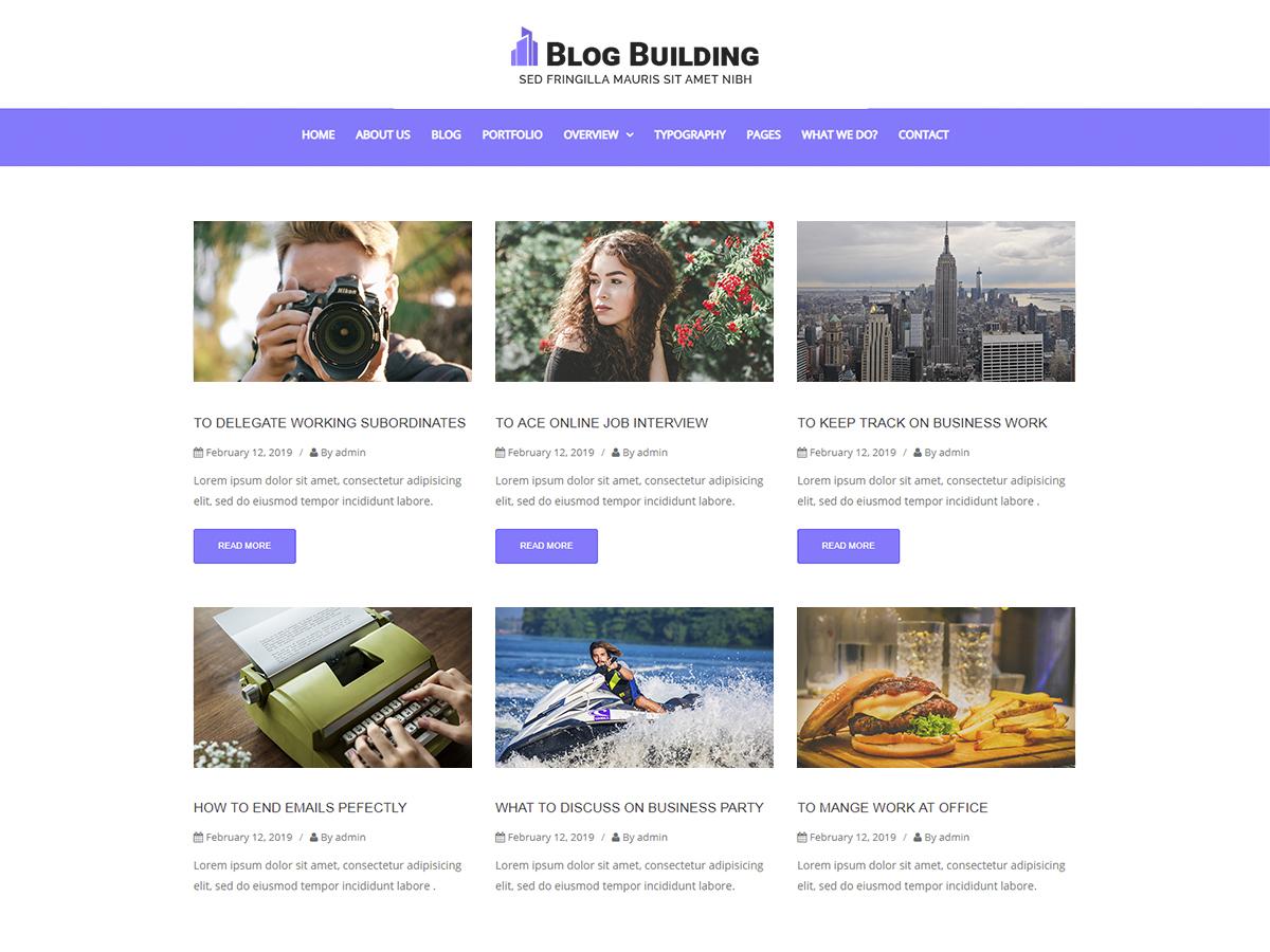 Blog Building WordPress blog template