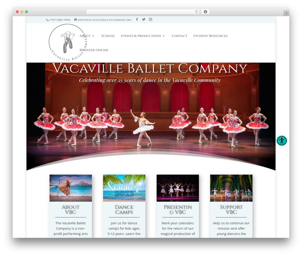 WordPress website template Divi - vacavilleballetcompany.org