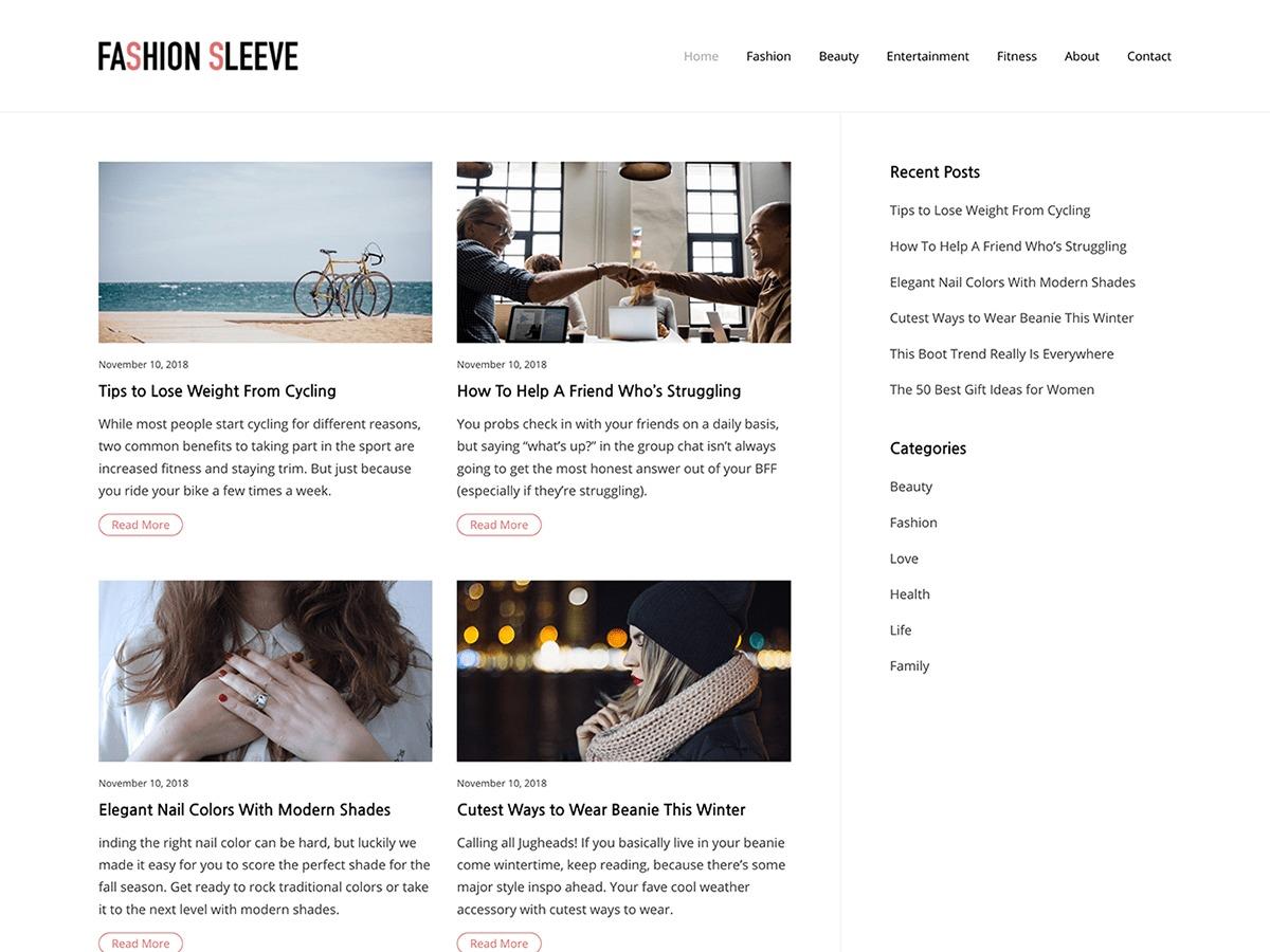 Fashion Sleeve WordPress photo theme