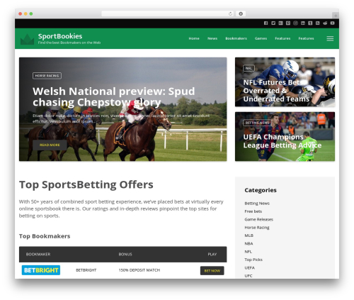VegasHero Sports Betting Theme best WordPress theme - sportbookies.net