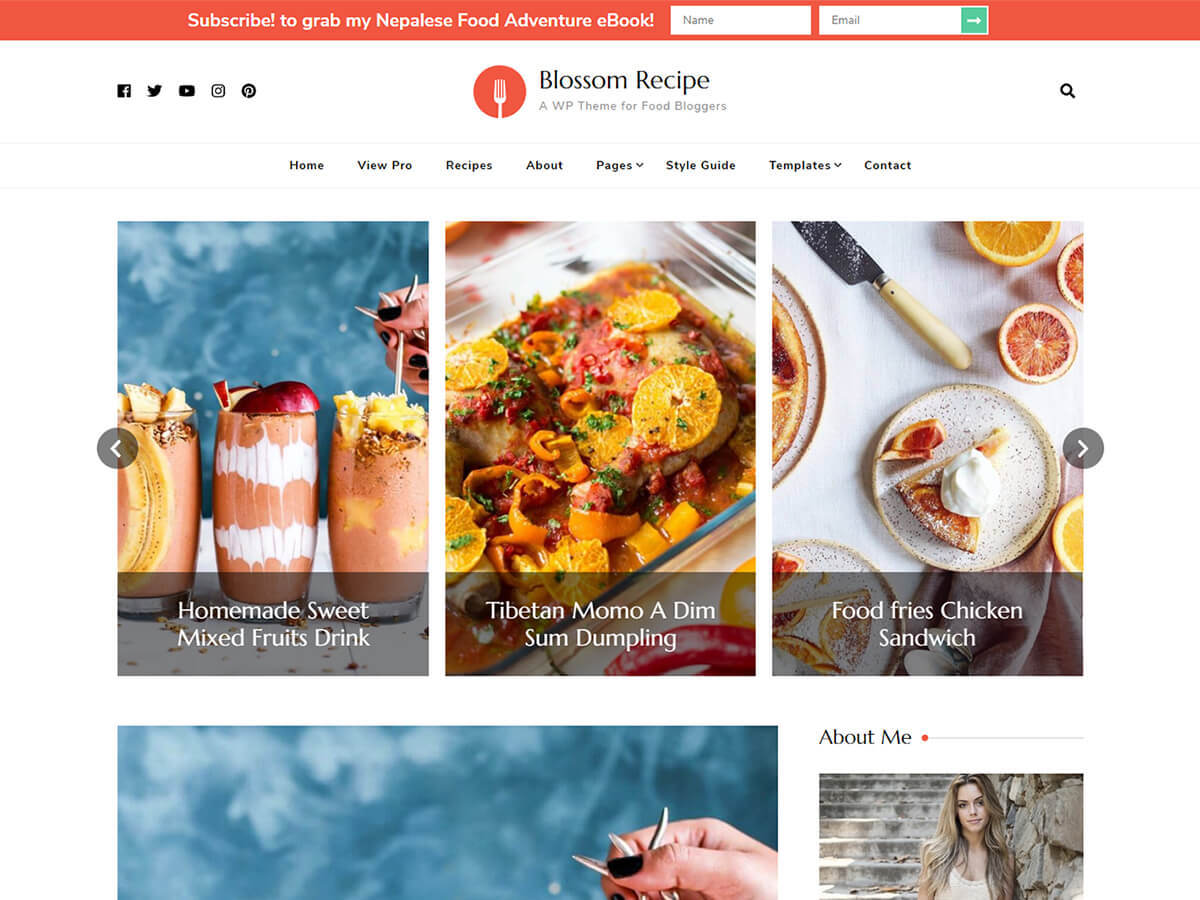 Blossom Recipe food WordPress theme