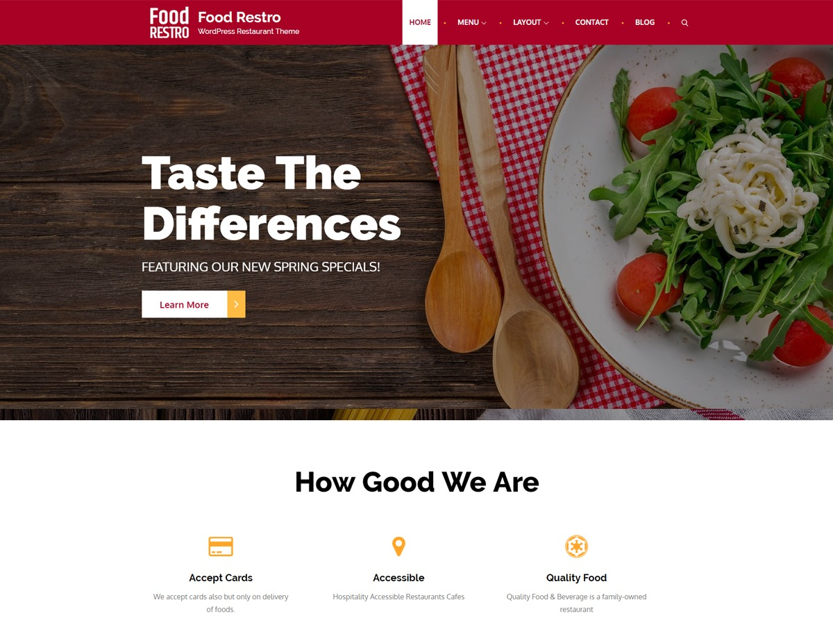 Food Restro WordPress template for business