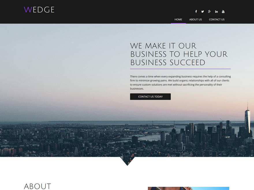 WordPress website template Wedge Child
